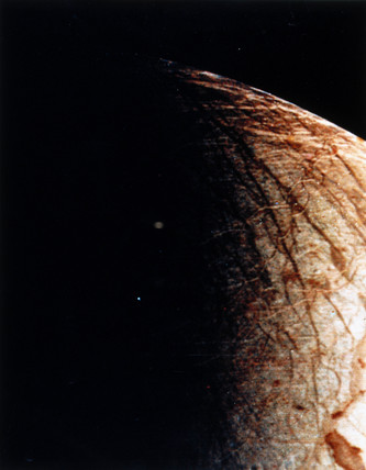 Close up of Europa, one of the moons of Jupiter, 1979.