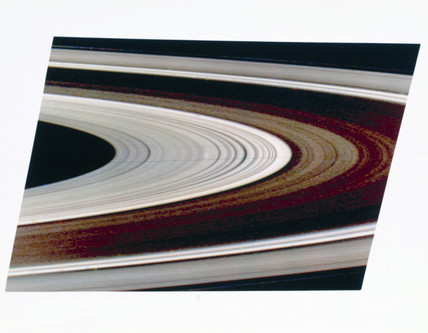 Close up of the rings of Saturn, 1981.