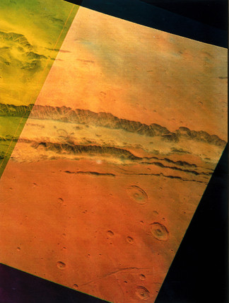Part of  Valles Marineris, the 'Grand Canyon' of Mars, 1976.