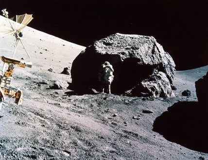 Apollo 17 astronaut Harrison Schmitt collecting samples, 1972.