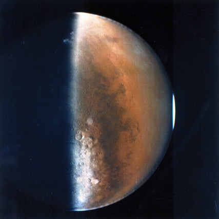 Half hemisphere of the planet Mars, 1976.