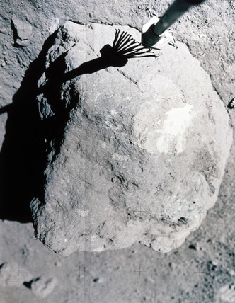 Close up of small rock on the Moon, 1972.