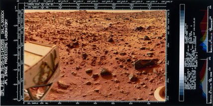 Close-up view of the Martian landscape from the Viking 1 Lander, 1976.