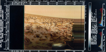 Close-up view of the Martian landscape from the Viking 2 Lander, 1976.