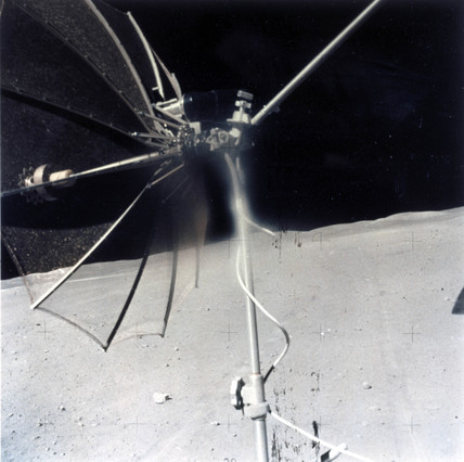 High gain communications antenna on a Lunar Rover on the Moon, 1971-1972.
