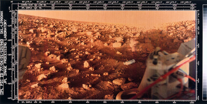 Martian landscape taken by a Viking Lander, 1976.
