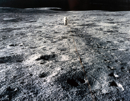 Apollo 14 astronaut Edgar Mitchell on the Moon, 1971