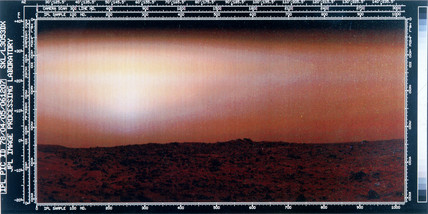 Martian landscape taken by one of the Viking spacecraft, 1976.