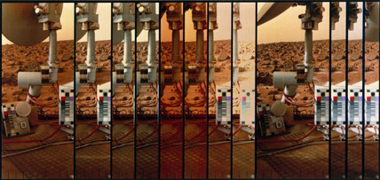 Multiple image of the Martian surface and Viking Lander, 1976.