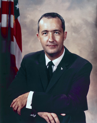 Astronaut James McDivitt in formal suit, 1966.