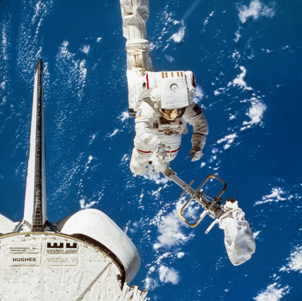 Shuttle astronaut in space, 1984.