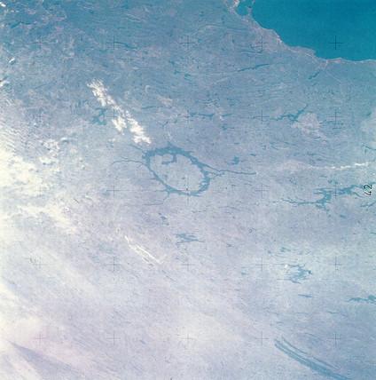 The Manicougan impact crater, Quebec, Canada, 1970s.