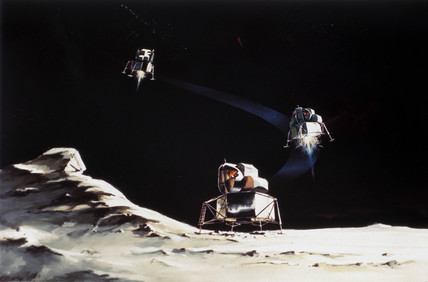 Drawing of Lunar Module descent, 1968.