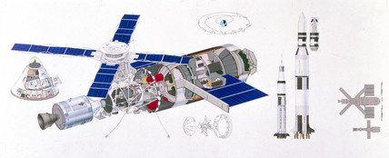 Diagram of Skylab space station, 1973.