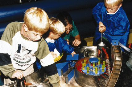 Children in the Water Zone, Garden area, Science Museum, London, 1990s.