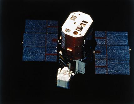 Astronaut with Solar Maximum Satellite, 1984.