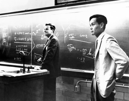 Richard Feynman with Yang Chen Ning, American physicists, c 1950s.