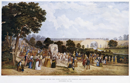 'Opening of the First Public Railway - the Stockton and Darlington', 1825.