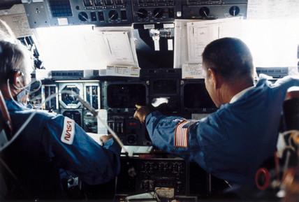 Space Shuttle flight deck, 1980s.