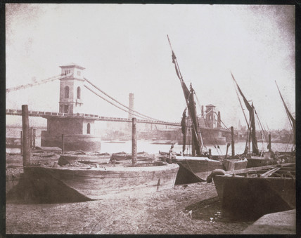 Brunel's Hungerford Suspension Bridge, London by Talbot, c 1845.