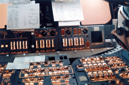Space Shuttle flight control instruments, 1980s.