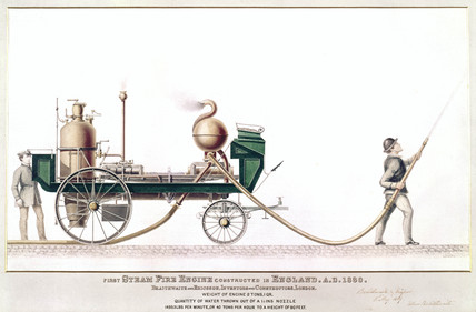 The first steam fire engine, 1830.