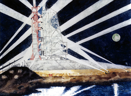 Artist's impresion of Apollo 11 on the launch pad, 1969.