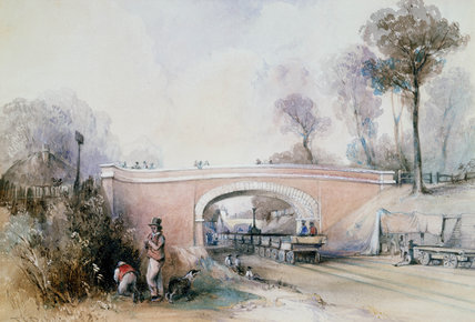 Construction of the Eastern Counties Railway near Ilford, Essex, 1838.