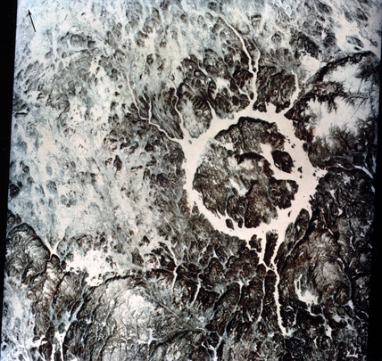 Landsat image of the Manicougan Lake, Quebec, Canada, 1974.