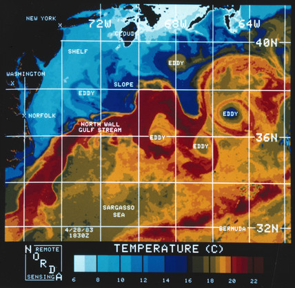 Infrared picture the Gulf Stream, 1970s.