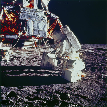 Apollo 12 astronaut and Lunar Module, 1969.