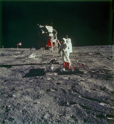 Apollo 11 astronaut Edwin 'Buzz' Aldrin on the Moon, 1969.