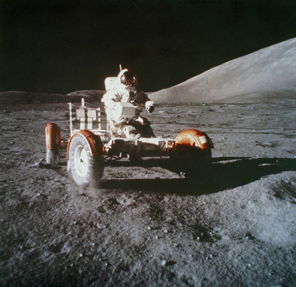 Apollo 17 astronaut Eugene Cernan on the Moon in the Lunar Rover, 1972.