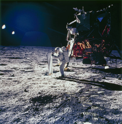 Apollo 11astronaut Edwin 'Buzz' Aldrin on the Moon, 1969.