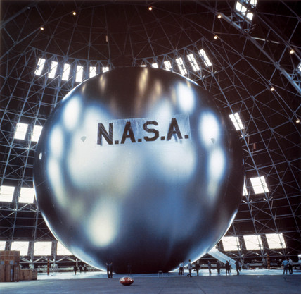 Echo satellite during inflation tests, 1960.