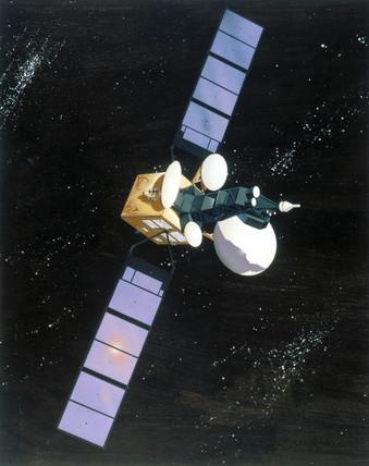 Artist's impresion of an Intelsat 5 communications satellite, 1980.