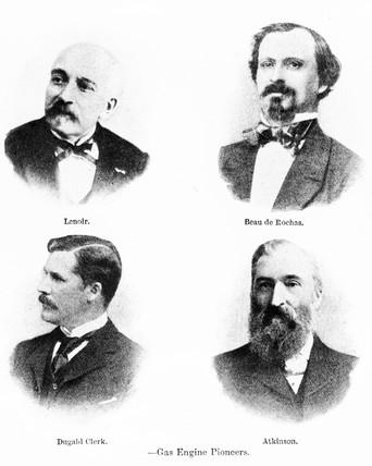 Gas engine pioneers, Lenoir, Clerk, Atkinson and de Rochas, late 19th century.