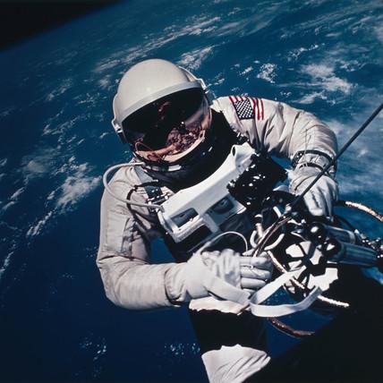 Astronaut Ed White spacewalking, 1965.