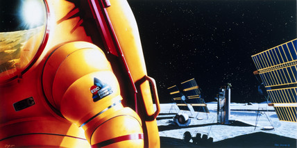 Drawing of future lunar outpost, 1988.