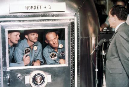 Apollo 11 astronauts meeting US President Richard Nixon, 1969.