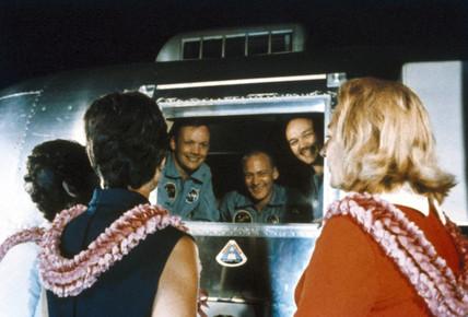Apollo 11 astronauts return home, 1969.