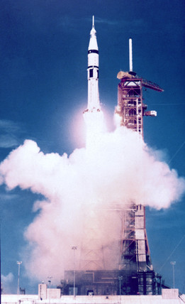 Launch of Saturn 1B rocket, Apollo/Soyuz Project, 1975.
