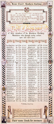 Southern Railway's Home Guard roll of honour for the period 1940-1944.