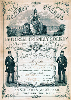 Railway Guards Universal Friendly Society membership certificate, 1850.