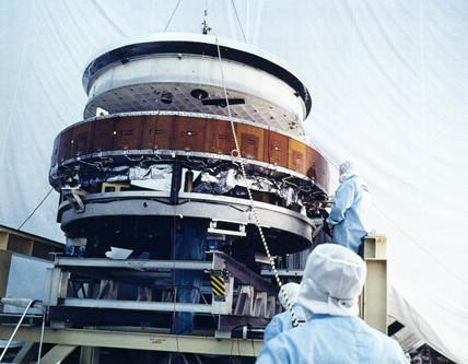 Asembly of Hubble Telescope, 1980s.