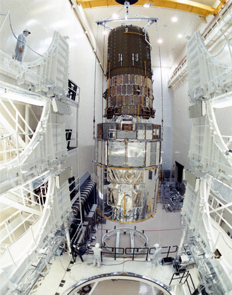 Hubble Space Telescope after asembly, 1980s.