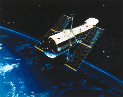 Hubble Space Telescope in orbit, 1980s.