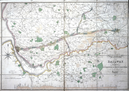Stephenson's map of the Liverpool & Manchester Railway, c 1824-1830.