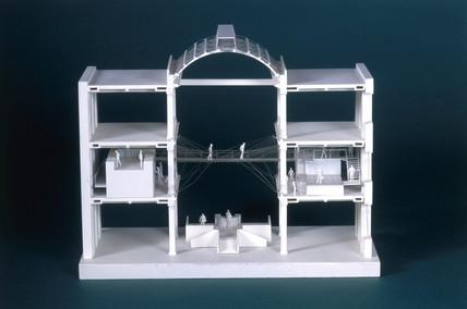 Glas and steel suspended bridge, 1996.