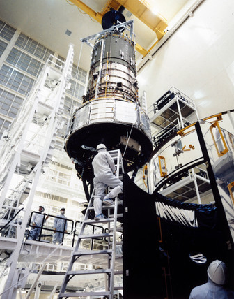 Asembly of the Hubble Space Telescope, 1980s.